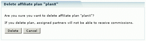 Figure 11: Plan deletion warning message