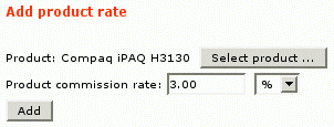 Figure 9: Adding product commission rate